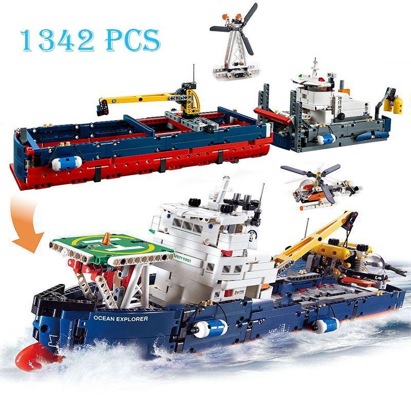 1342 stücke Stadt Serie Ozean Explorer Sea Ship Bausteine Kompatibel Technik 2 in 1 Boot Modell Ziegelsteine Kinderspielzeug Q1127
