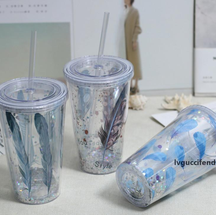 Последние 18.6oz ангел и перья дьявола, двойная пластиковая соломенная чашка льда летом, пить сок, замороженное водное стекло, бесплатная доставка