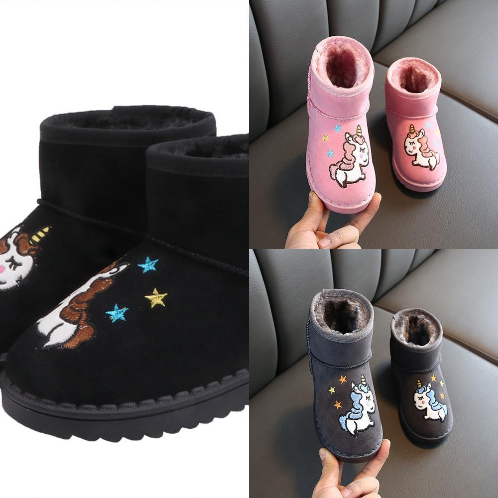 Mode Stiefel Mädchen Einhorn Schneeschuhe Kinder 2019 Neue Ankunft Kinder Winter Schuhe Dicker Knöchelstiefel Sneaker Für Mädchen Jungen Y1127
