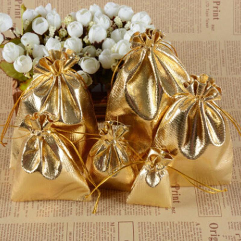 Regalo Wrap 100pcs Oro Plata Metálico Metálicos Bolsas de caramelo Bolsos Regalos Bolsa Boda Boda Árbol de Navidad Decoraciones Favor