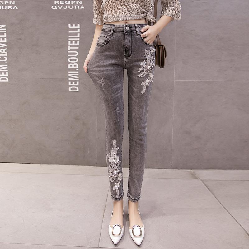 2021 Automne Fashion Jeans Flower Broderie Coton Spandex Restro Fashion Denim Pantalons Femmes Pencil Pantalon