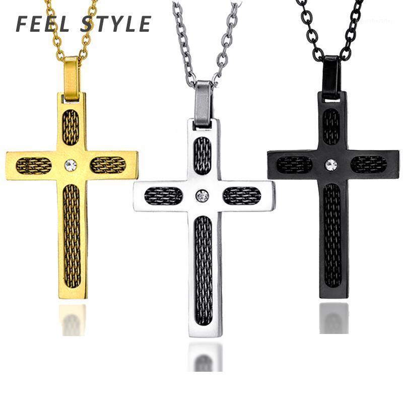 Крест из нержавеющей стали из нержавеющей стали с ожерельями горный хрусталь для молитвы Иисуса пересекают кулонные ювелирные аксессуары1