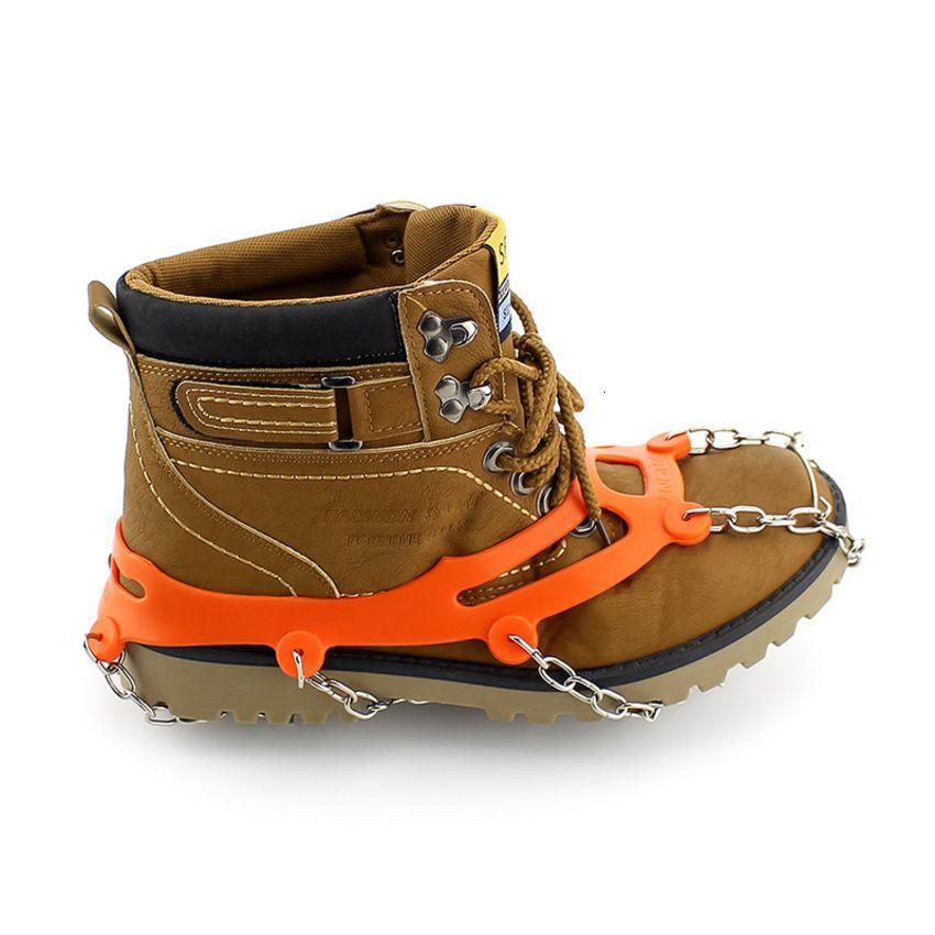 Invierno al aire libre montañismo diez 10 dientes cubierta hielo garra silicona simple antigiskid zapato cadena de zapatos 7Tam