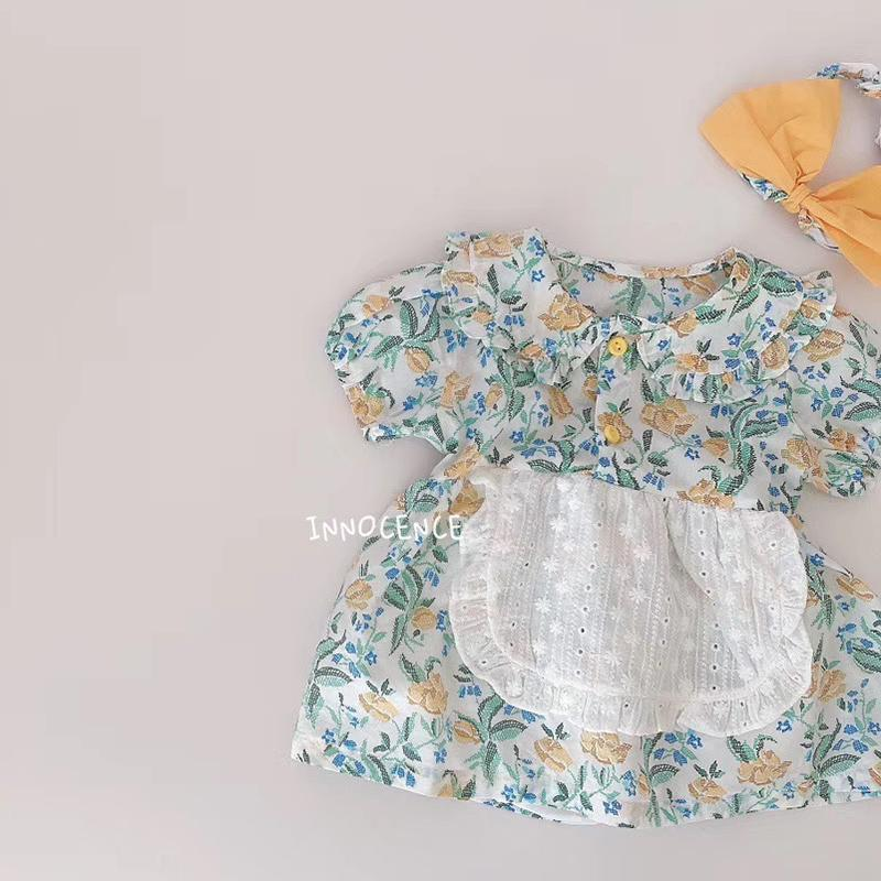 Baby Girls Flower Rompers 2020 Newborn Shorts Sleeve Clothing + Hair Band Toddlers Kids Jumpsuits Korean Style Infants Clothes Z1121
