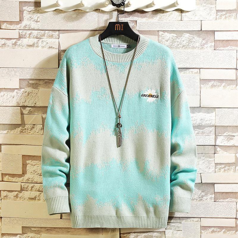 La lana de los hombres suéter que hace punto del O-cuello de manga larga de colores caliente Coincidencia Comfortble otoño invierno ocasional de la personalidad masculina suéter