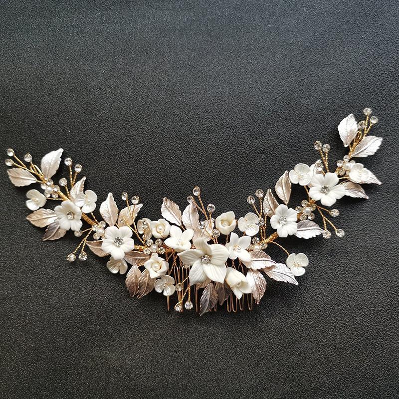 Slbridal faus à la main en cristal strass perles en céramique fleur de mariée cheveux cheveux cheveux accessoires de cheveux de demoiselles d'honneur femme bijoux q1124