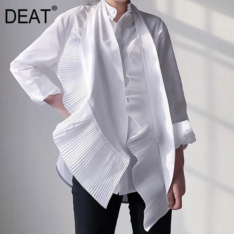 Dereat Yeni Bahar ve Yaz Moda Kadın Giyim Yay Yaka Ruffles Pileli Tek Göğüslü Gömlek Kadın Bluz LJ200811