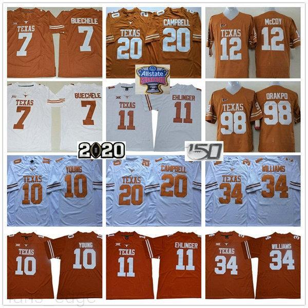 NCAA 150s Texas Longhorns 11 Sam Ehlinger 7 Shane Buechele 10 Vince Young 20 Earl Campbell 34 Ricky Williams Cucita Arancione Bianco Jersey