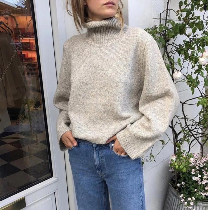 Turtleneck mulheres camisola solto curto e longa volta feminino feminino simples pulôver malhas outono inverno novo
