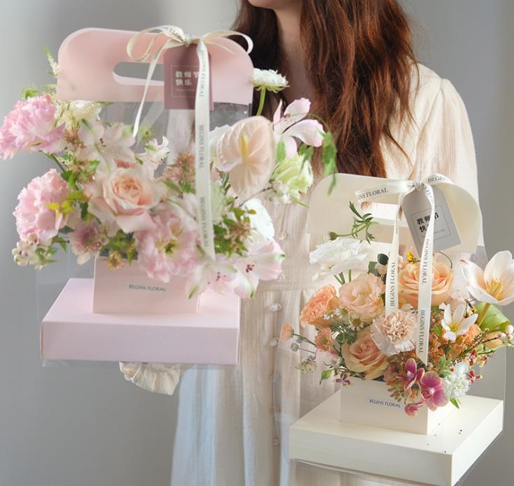 Bolso de embalaje de flor transparente transparente con caja de papel de ramo de mango para bodas Día de San Valentín SN1854