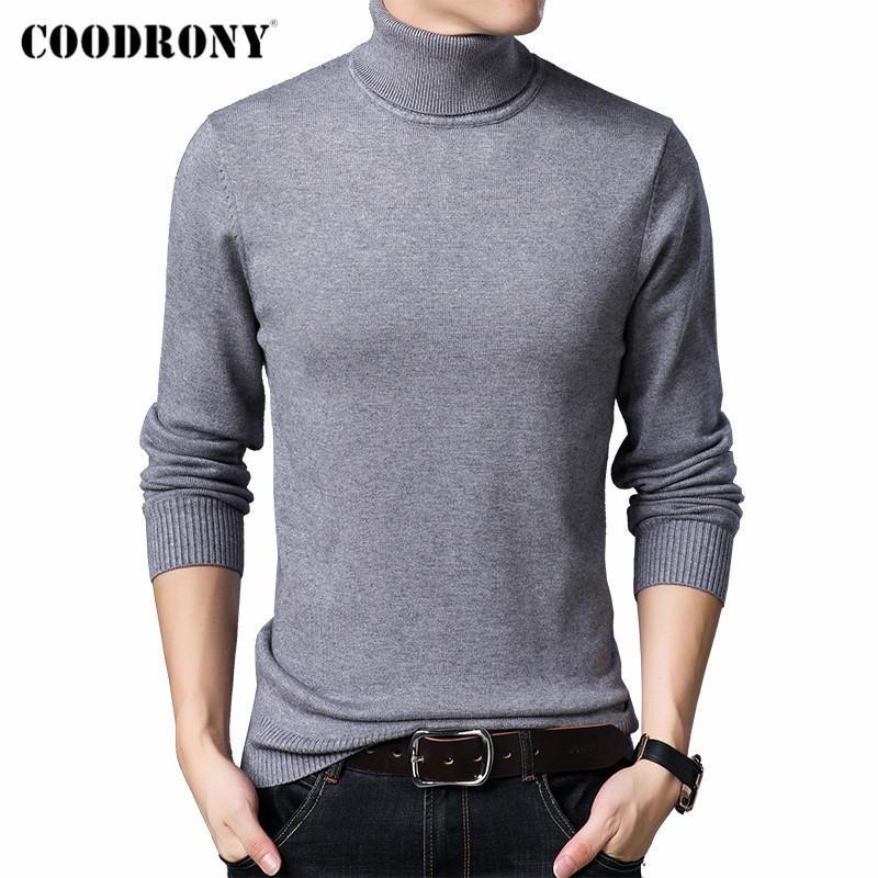 Coodrony hiver Nouvelle Arrivée Mode Casual Classique Couleur Pure Couleur Tricoterie Épais Tour de turtleneck Pull Pull Hommes Vêtements C2006
