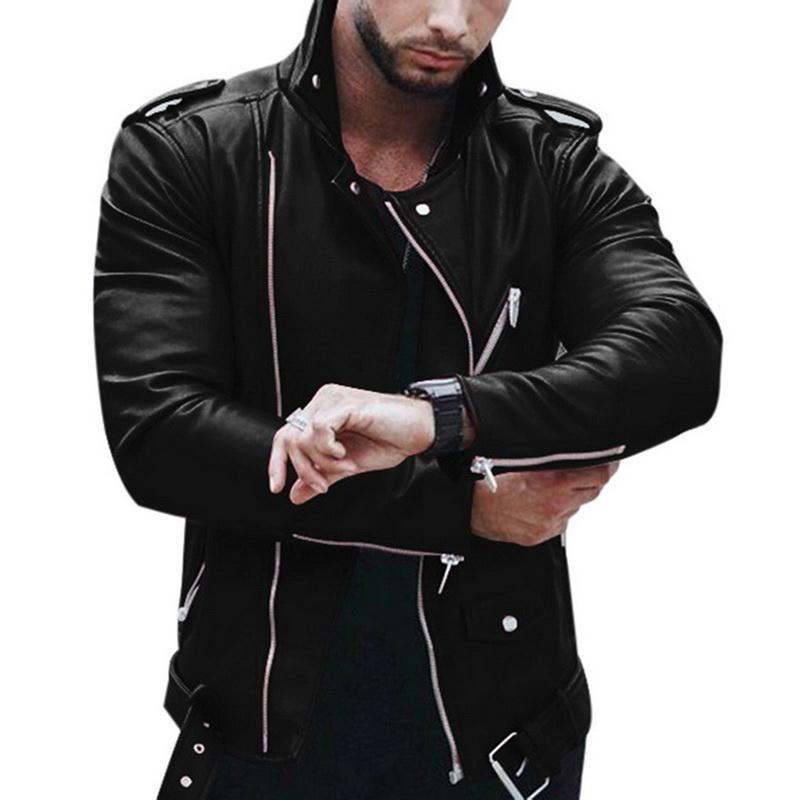 Erkek Fermuar Deri Ceket Erkekler Sonbahar Kış Slim Fit Motosiklet Ceket Hip Hop Streetwear Moda Klasik Ceketler