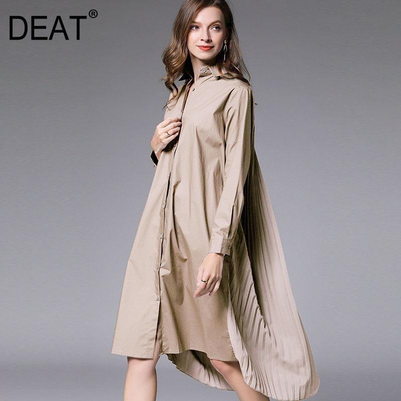 DATE 2020 Nueva Moda Tamaño grande XL-4XL Vestido de la camisa de las mujeres de la manga llena de la solapa de la solapa de la longitud de la rodilla de la longitud de la rodilla suelta del paño salvaje AQ746