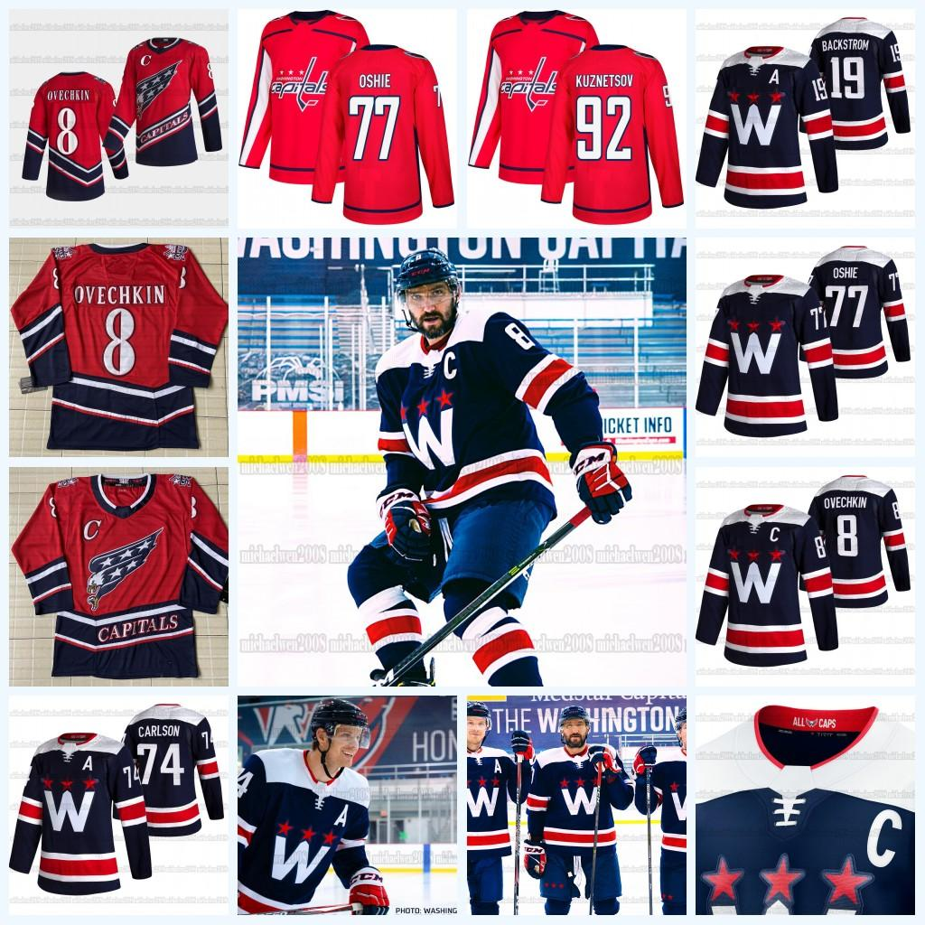 Henrik Lundqvist Washington 수도 2021 Reverse Retro Jersey Alex Ovechkin John Carlson T.J. Oshie Evgeny Kuznetsov Jakub Vrana Tom Wilson.