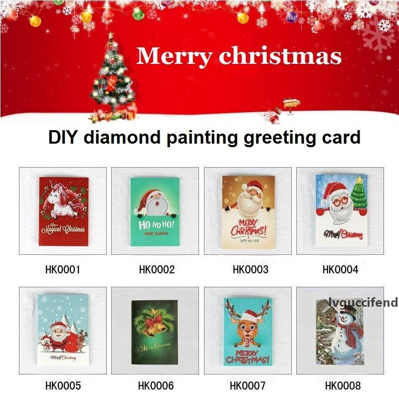 Frohe Weihnachten Karte DIY Diamant Malerei Geburtstag Grußkarte Santa Klausel Elch Snowman DIY Bohrerkarte