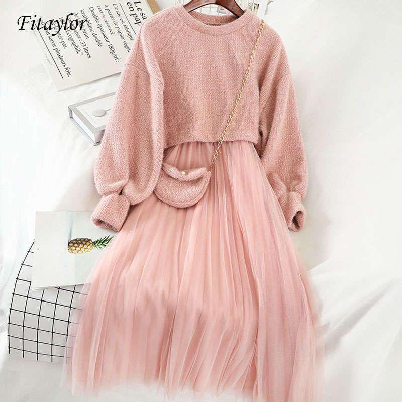 Fitaylor сладкие два кусочка костюм женские вязаные свитера весна зима о шеи свитера и спагетти ремешок набор женское платье