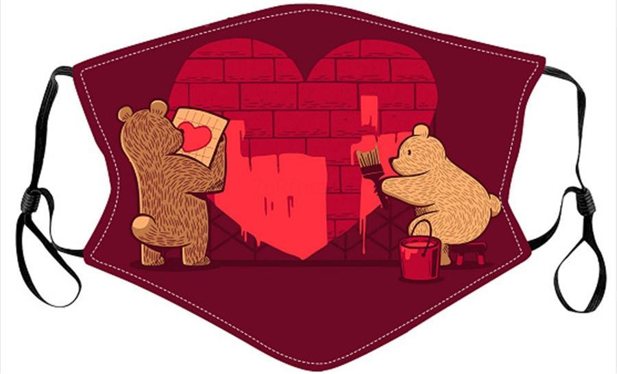 Мода Леди Медведь Печатная хлопковая маска для День Святого Валентина может содержать PM2,5 теплая дышащая маска горячая SLE # 152 # 15211103