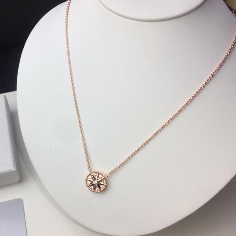 ارتفع الذهب 925 الفضة ثمانية وأشار ستار fritillary البوصلة قلادة قلادة للنساء مصمم الأزياء والمجوهرات للمرأة