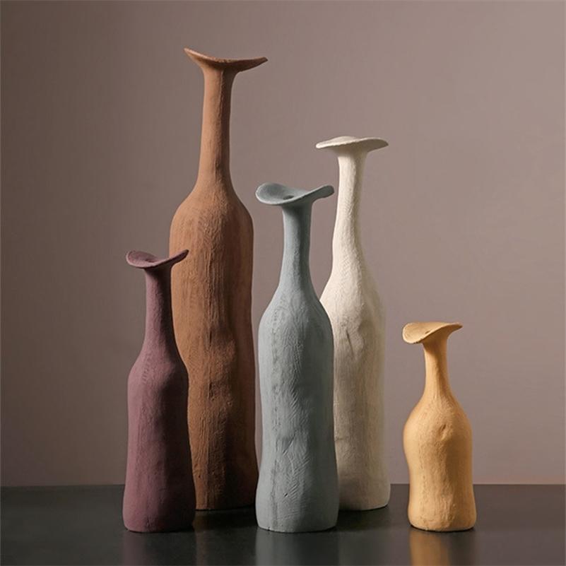 1 шт. Современная креативная керамическая ваза Minimalistic Morandi цветные вазы гостиная домашняя декор Nordic стиль скульптура искусства орнаменты LJ201209