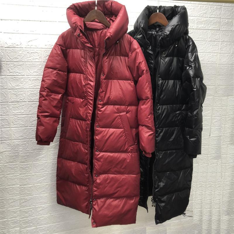 New Winwer's Winter Parkas Baiacado Senhoras Senhoras Duck Down Casaco Roupas grossas e quentes com um capuz feminino preto vermelho preço barato1