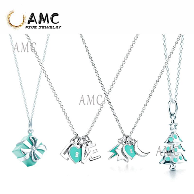 TF Fashion Classic Sterling Silver Gift Box Christmas Tree Love Xingyue Necklace Lady Christmas Gift Jewelry Wholesale