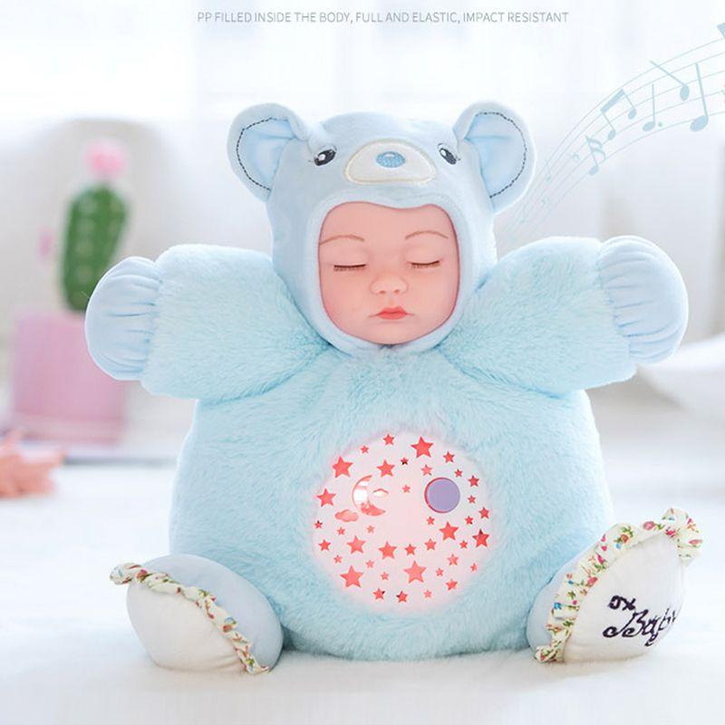 25CM Lullaby Sound Plush Dolls Silicone Sleepy Reborn Baby Toys 7 Color Light Plush Bear Instrument Puzzle Luminous Gift Toys F1211