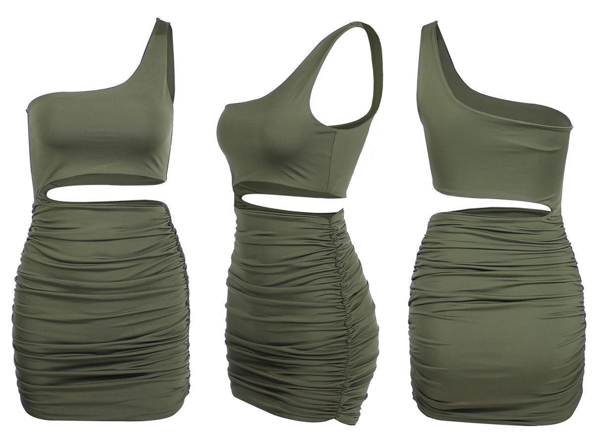 Женская мода Dresssingle плеча сексуальный ночной клуб мешок бедра платье цвета 5 ярдовvscnddxg95