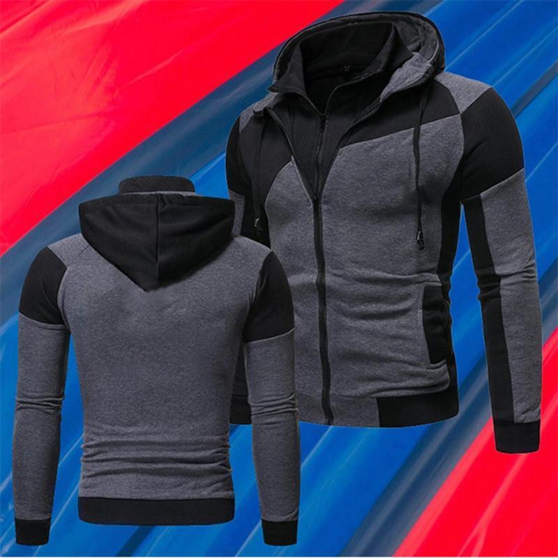 Hoodies de Inverno Masculino Slim Fit Sweatshirt Outwear Casaco Quente Casaco De Moda Planície Zip Up Casual Casacos Mens Mens Roupas Outerwear