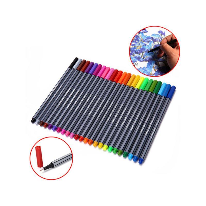 24 pcs fineliner escova aquarela caneta conjunto Finer Fineliners de colorir marcadores de pintura cores