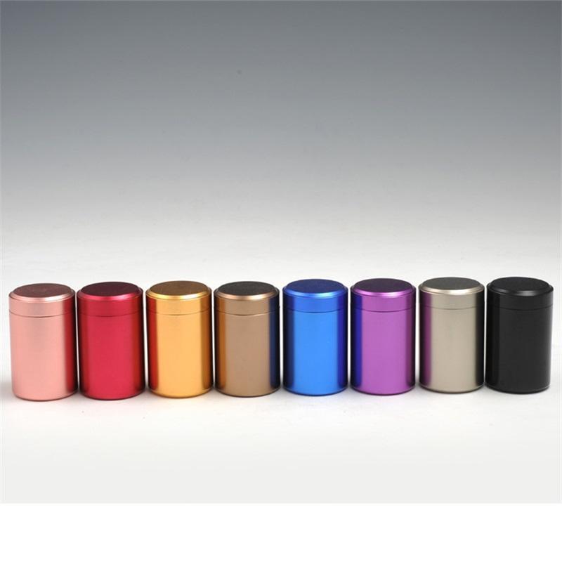 Cilíndrica, chá, frasco, parafuso, tampa, selo, cima, caixa, caixa, cofre, alumínio, liga metálico, lustizador, alimento, canister, pequeno, cozinha, organizador 3 7cma, g2