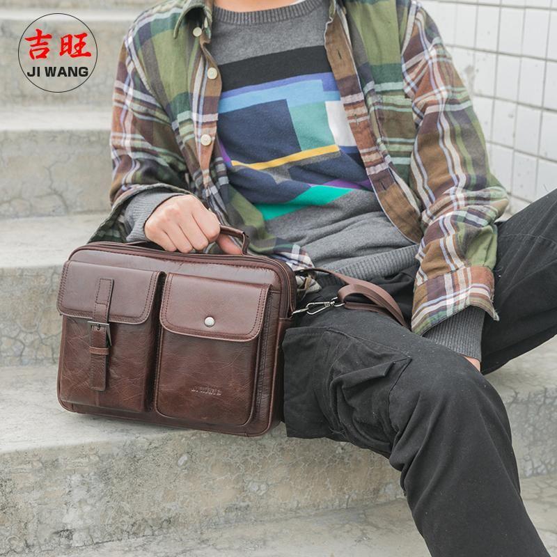 Настоящая кожа на одно плечо сумка многофункциональная сумка на плечо Большая емкость Бизнес путешествия Один диагональ