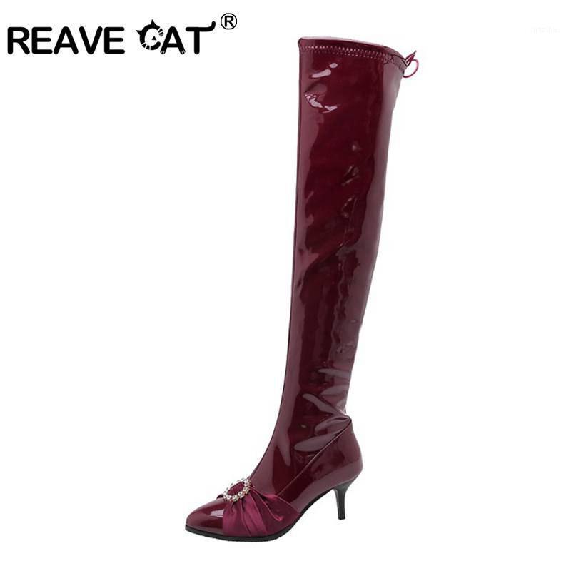 Botlar Reave Kedi Kadın Diz Üzerinde Ince Topuk Patent Deri Kristal Uzun Fermuar Seksi Uyluk Yüksek Kış Sonbahar Ayakkabı1