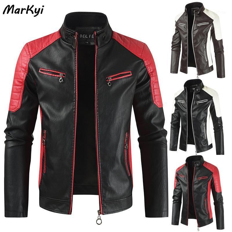 Markyi 2020 automne veste en cuir vintage Hommes Plus Taille 4xL manches longues patchwork Mens de moto Veste de moto1