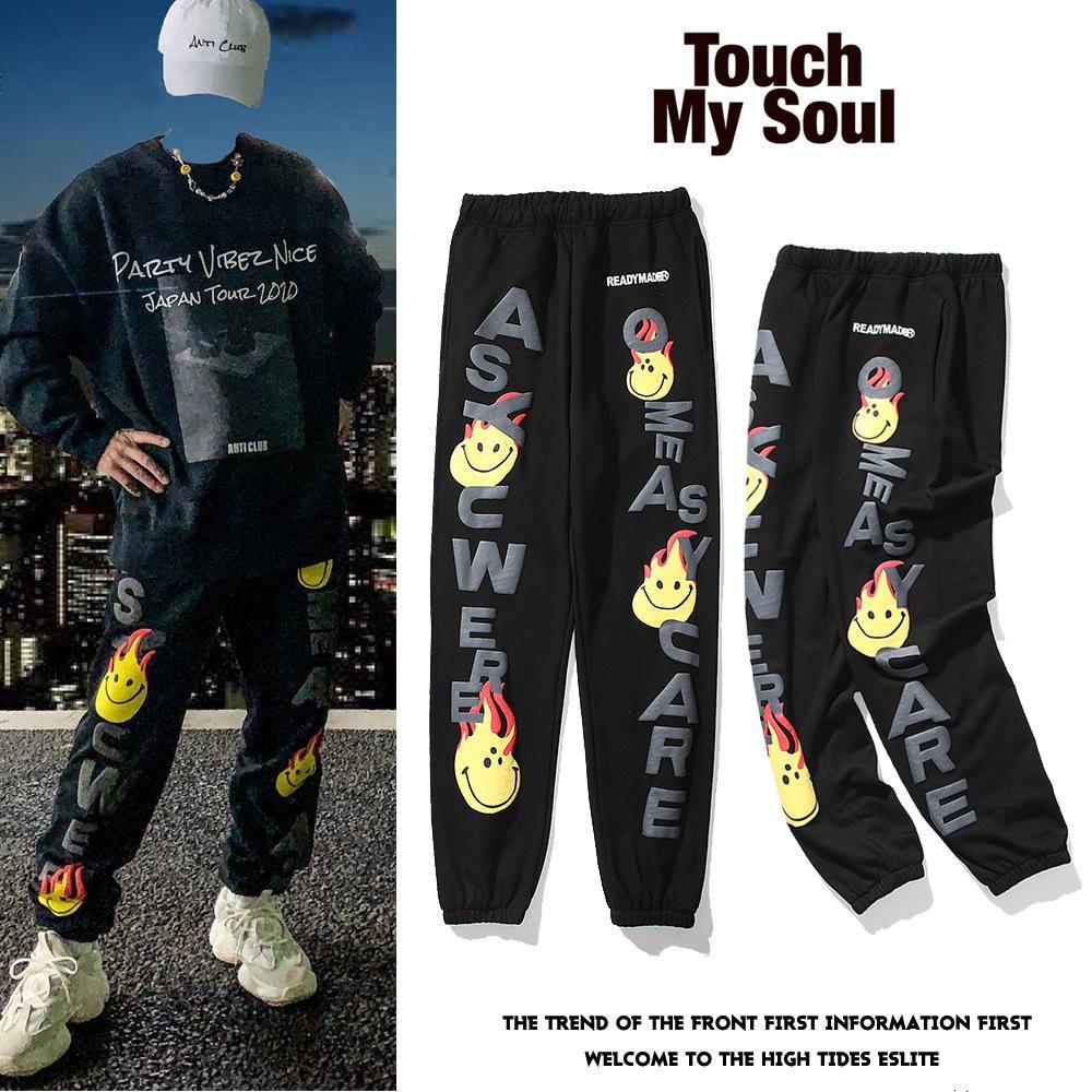 Readymade Wu Yifan Kan Ye's Same Flame Smile Face 3D Sollievo Stampa per uomo e sportivi da donna Pantaloni casual da uomo