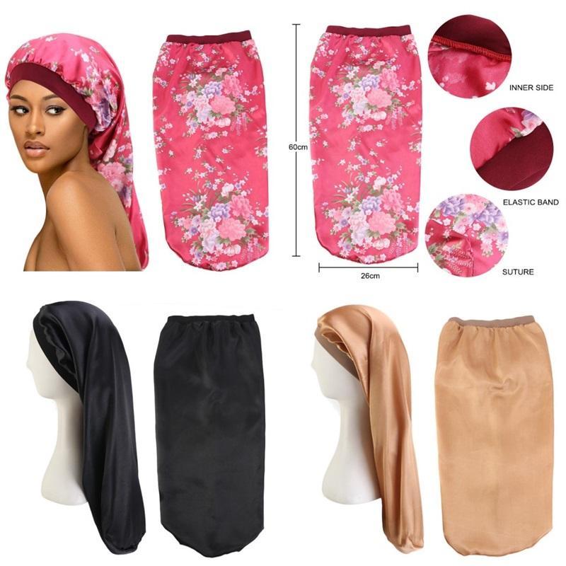 Imitazione Bonnet di seta larga Edge Bordo Lungo Capelli Capelli Stampa Stampa Elastico Forza elastica Cappello da Braid Donna Modo Nightcap Vendita calda 6JD M2