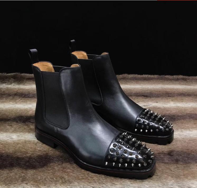 Diseñadores Zapatos Nuevos Sneaker Men Boot Spikes Suede Cuero Sole Red Sole Hombres Zapatos Super Perfect Melon Motorcycle Boot