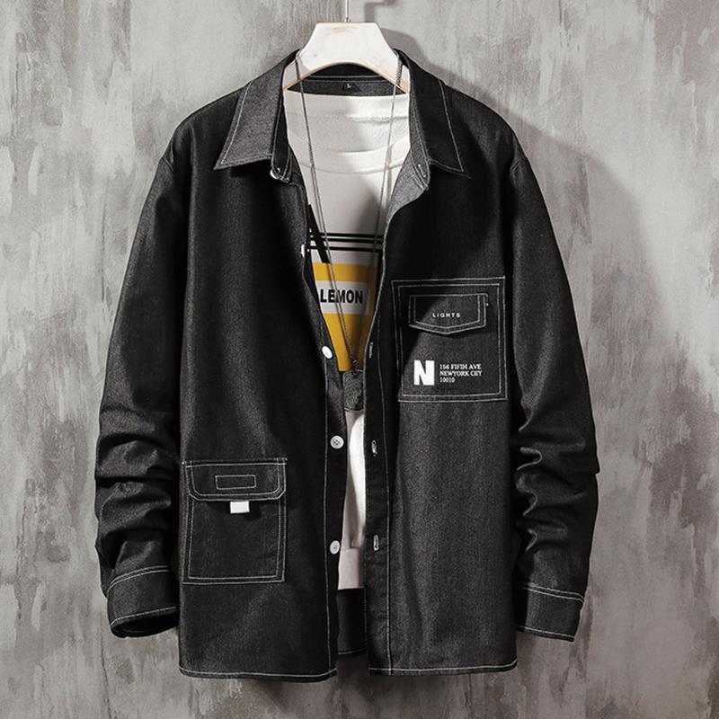 Feitong mode poches d'automne Chemises hommes décontractés collier de roulement patchwork chemise en jean à manches longues