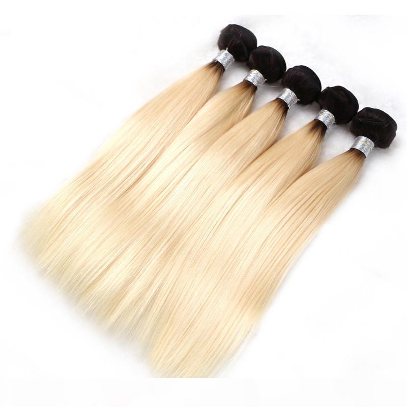 Elebass Hair-1 3 4 Bundles Honey Dark Roots 1B 613 Ombre Bionda Bundle Bundle Lungo Brazillian Dritto Dritto Rimbera dei Capelli umani Estensioni
