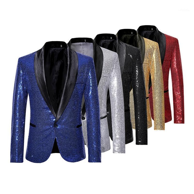 Мужские блестки костюма блазера куртка бренд блестящий блеск украшенный блейзер мужской тонкий DJ Club Stage формальная свадьба1