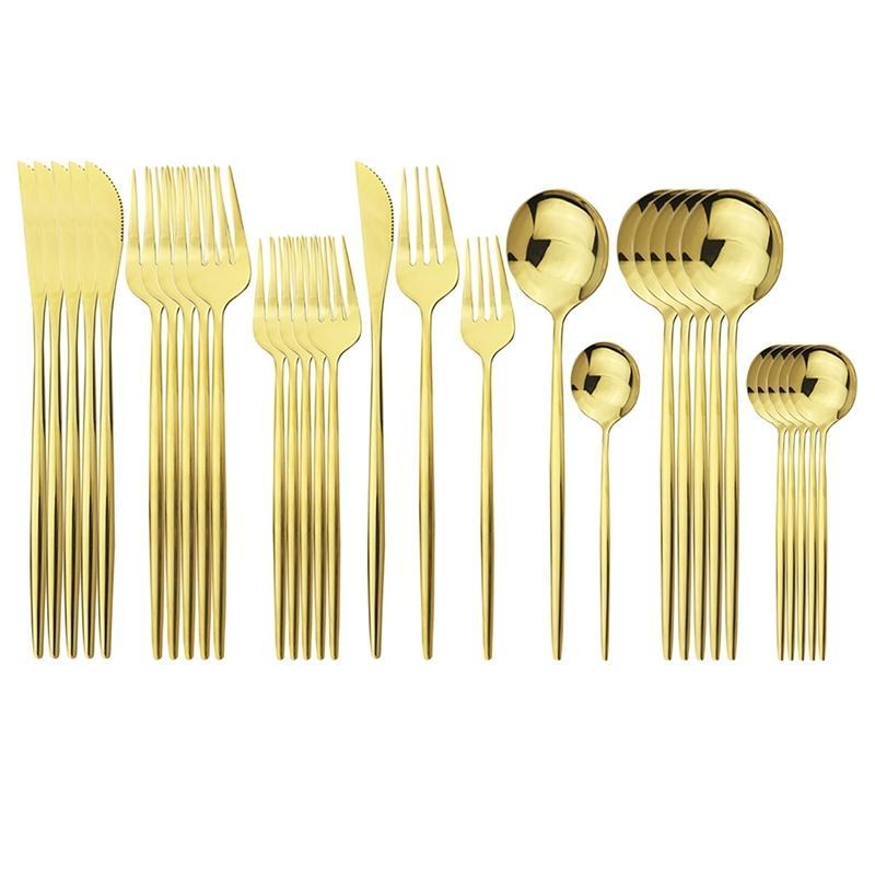 30 unids Oro Cubiertos 18/10 Cuchillo de vajilla de acero inoxidable Cuchillo Postre tenedor Cuchara Cena Cubiertas Cocina Cocina Setware 20128