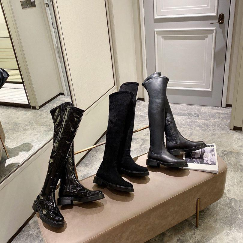 Sexy women Winter Knee Boots Stretch flat Heel Slip on Shoes Round Toe Woman Long Boots top quality Size 35-41