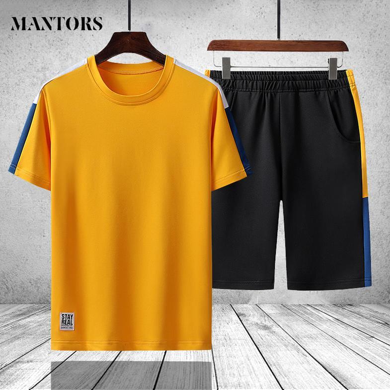 Casual Men Tracksuit Summer Fashion Mens Sweatsuit Fitness Sportswear Set Short Sleeve T Shirt Shorts Sets Two Piece Track Suit kg-493