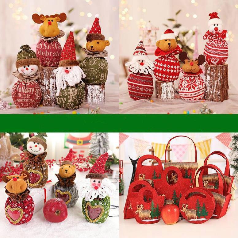 2020 New Hot Selling 15*25cm Christmas Gift Bag Christmas Decoration Candy Apple Storage Bag Snowman Elk Santa Claus for Children