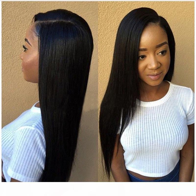 아기 머리카락 내열성이있는 자연 검은 긴 야키 스트레이트 전체 레이스 가발 흑인 여성을위한 전면 전체 레이스 가발