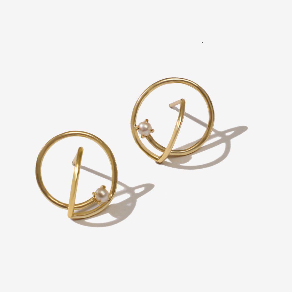 Uilz Fashion Niche Simple Design Géométrique Boucles d'oreilles perles en laiton plaqué or