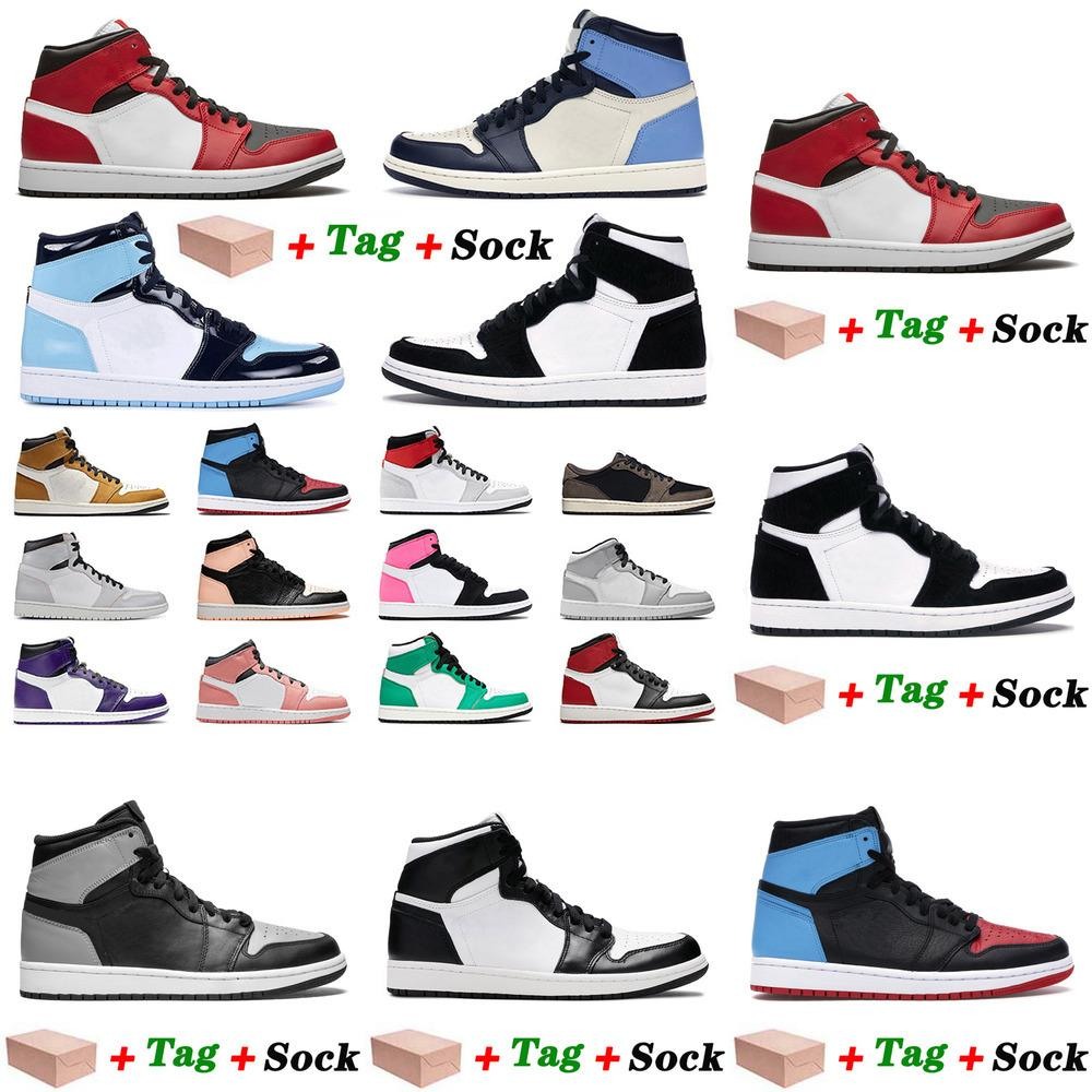 Encadré 2021 avec New Arrival Basketball Jumpan Chaussures Mid Chicago Toe Toe Obsidienne Unc Mens pour femmes Twist Twist Twist Town Rose Quartz Sport Entraîneurs Sneakers