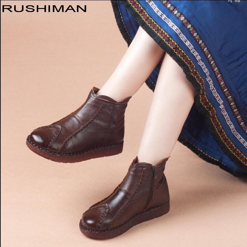 Botas Rushiman 2021 Moda Hecho A Mano Mujeres Cuero Genuino Tobillo Piso Real Cowhide Casual Mamá Zapatos