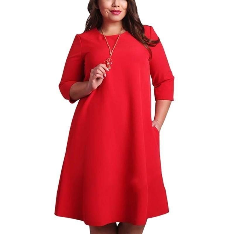 L-6xl vestidos de tamanho grande escritório senhoras plus size casual solto outono vestido bolsos verdes vestido de moda vermelho vestidos mulheres roupas