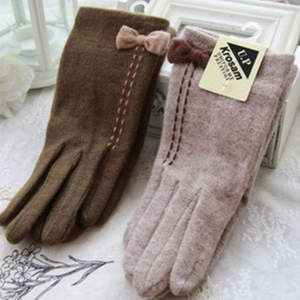 Зимняя осень iPhone Touch Touch Перчатки и экран Элегантный лук Кашемире шерсть Женщины вождение Gloves7kgi