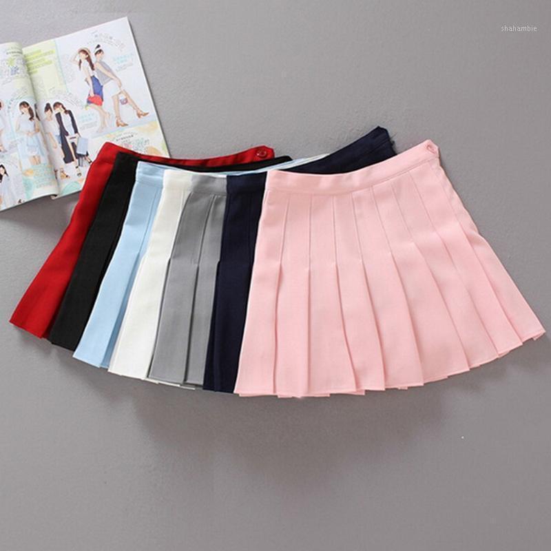 Coréen style haute taille plissée jupe femme casual Solid Beach jupe femme a-line mince coupe courte mini jupes jupe femme1